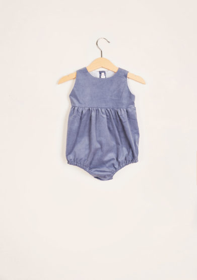 I MARMOTTINI - Grey ribbed velvet romper