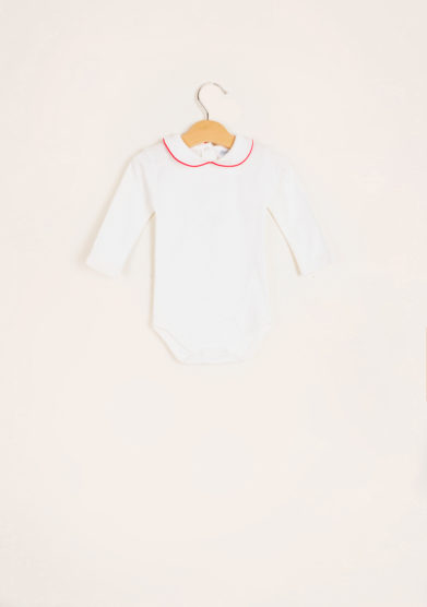 BARONI - Long sleeve bodysuit red piping