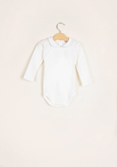 BARONI - Long sleeve bodysuit light blue piping