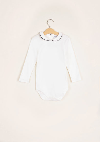 BARONI - Long sleeve bodysuit blue piping