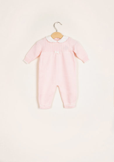 BARONI - Pink wool knitted jumpsuit