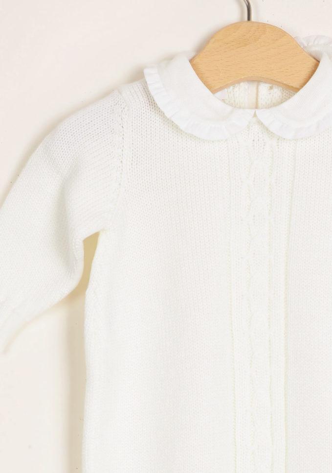 BARONI - Cream wool knitted jumpsuit