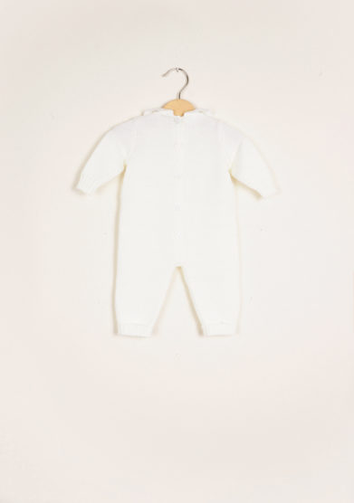 BARONI - Cream wool knitted jumpsuit