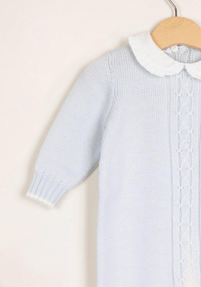BARONI - Light blue wool knitted jumpsuit