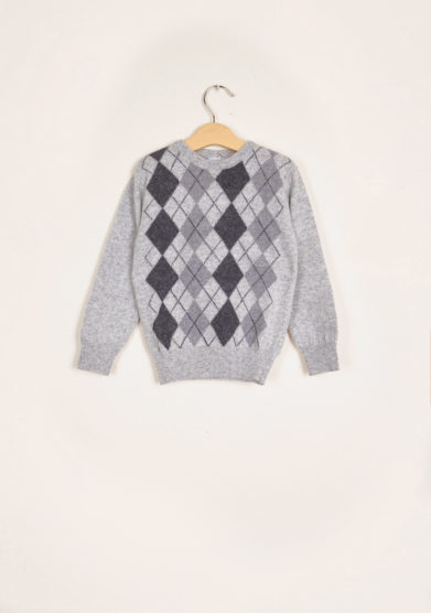 BARONI - Argyle grey wool sweater