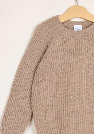 BARONI - Beige round neck cashmere sweater