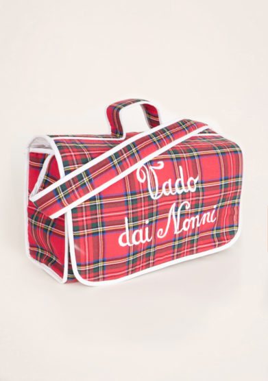 BARONI - Vado dai nonni red tartan bag