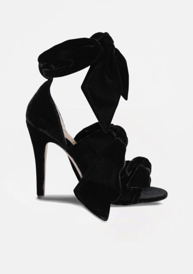 GIA COUTURE - Katia bows sandals in black velvet