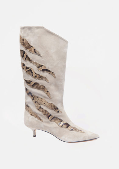 GIA COUTURE - Beige suede boots with python details