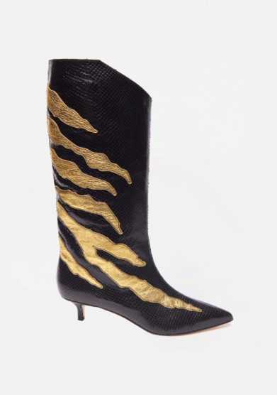 GIA COUTURE - Black leather boots with gold details