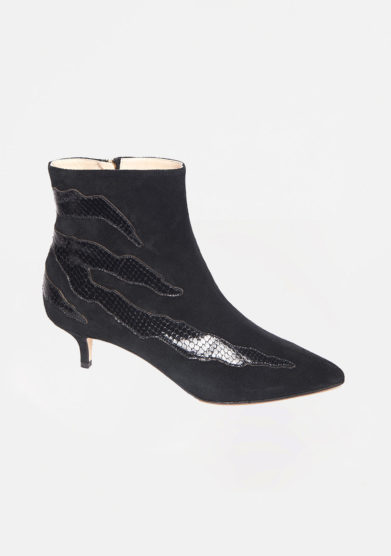 GIA COUTURE - Black suede ankle boots with black details
