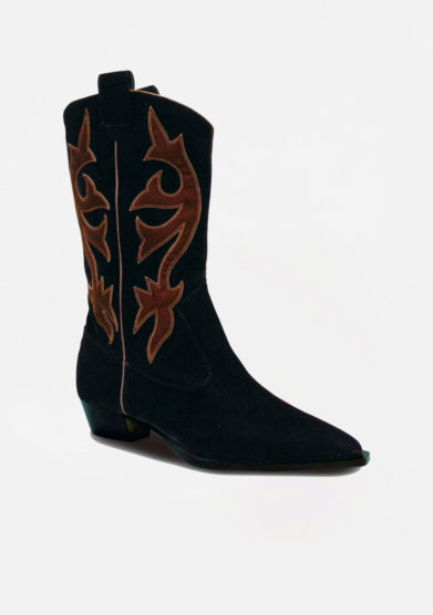 GIA COUTURE - Black velvet texan boots with brown details