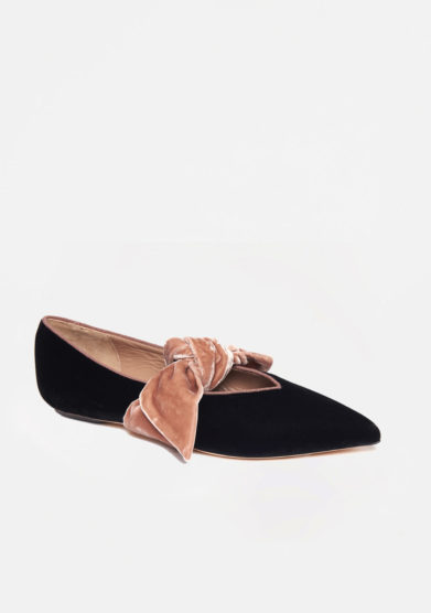 GIA COUTURE - Velvet ballet flats with pink laces