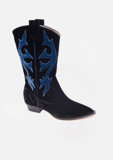 GIA COUTURE - Black velvet texan boots with light blu details