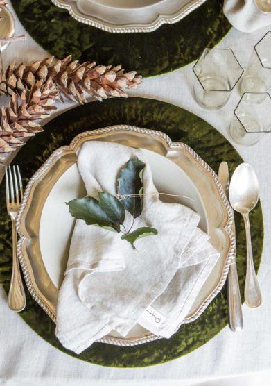 ONCE MILANO - Set of 2 white linen napkins