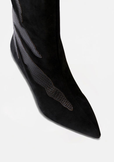 GIA COUTURE - Black suede boots with black details