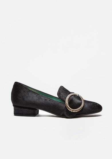 PAOLA D'ARCANO - Black pony loafers