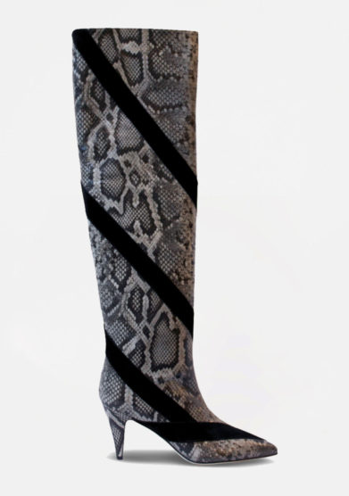 GIA COUTURE - Grey python printed leather boots