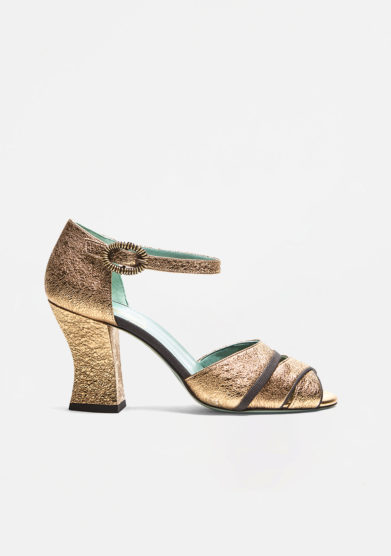 PAOLA D'ARCANO - Gold laminated leather sandal