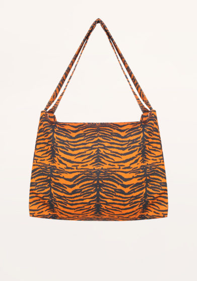FREI UND APPLE - Frei indian tiger orange and black printed bag