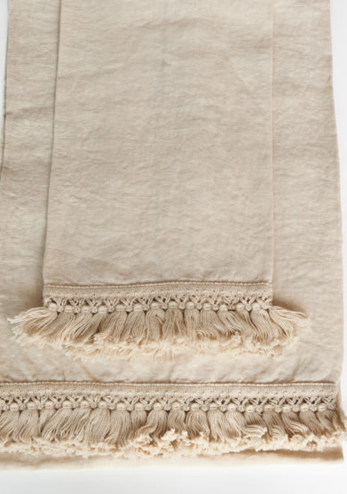 ONCE MILANO - Cream bath towels set with short fringe