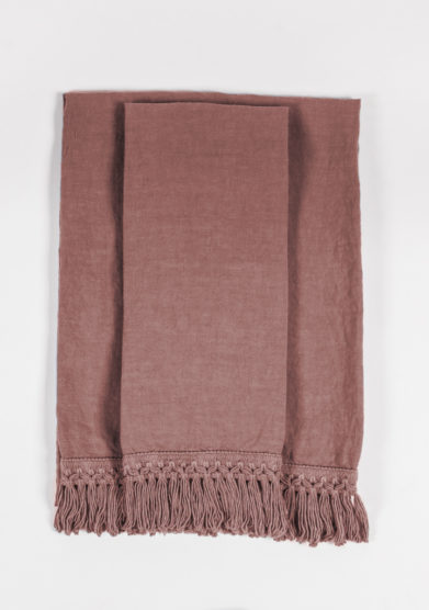 ONCE MILANO - Vintage pink bath towels set with long fringe