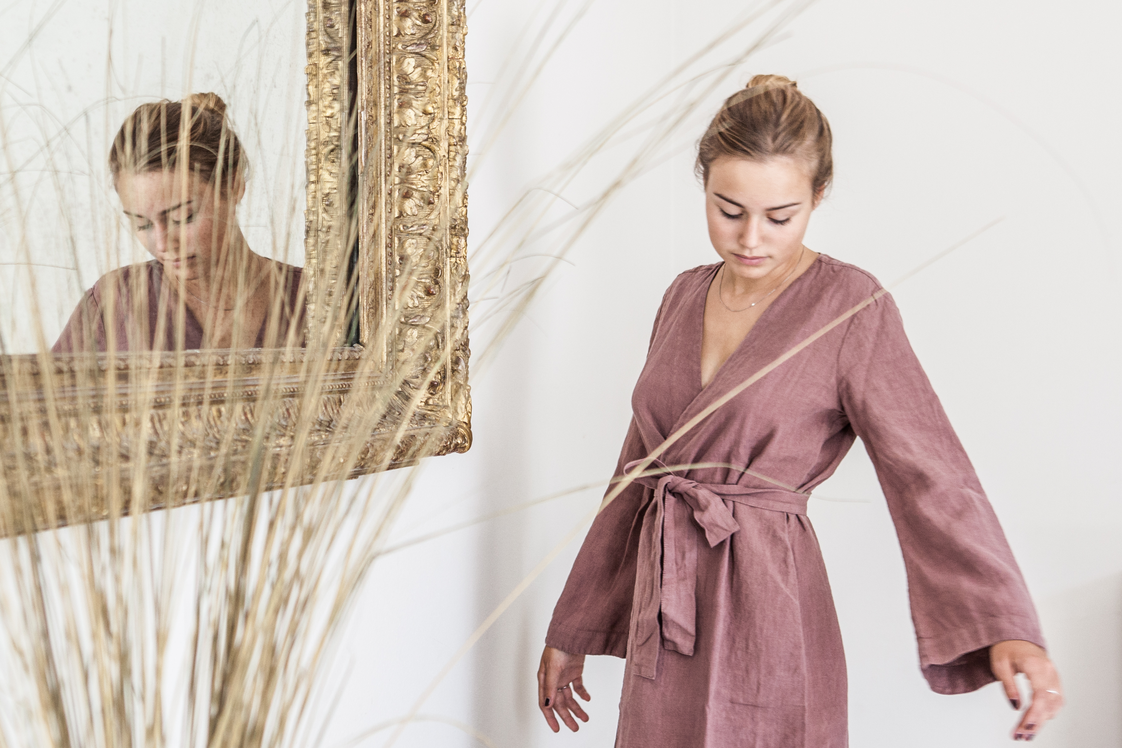 Once Milano Vintage Pink Linen Dressing Gown The Dressing Screen