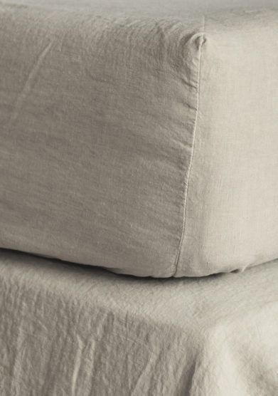 ONCE MILANO - Natural color linen fitted sheet