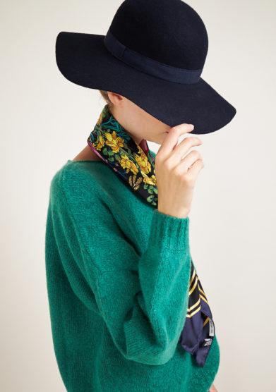 TABARRO SAN MARCO - Venetian cappellina hat in blue felt wool
