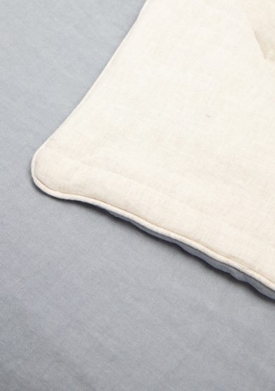 ONCE MILANO - Light blue linen blanket with piping
