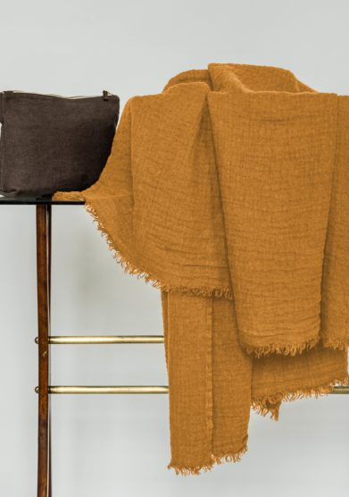 ONCE MILANO - Mustard linen tasseled throw