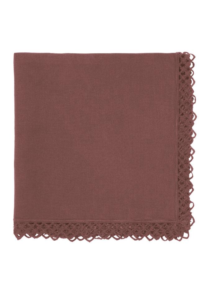 ONCE MILANO - Vintage pink napkin with macramè