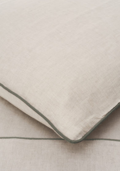 ONCE MILANO - Pillowcase with sage piping