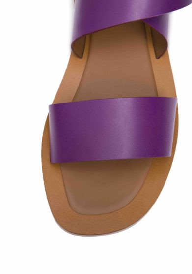 AMBLEME - Hartley lace up sandals in purple calfskin leather