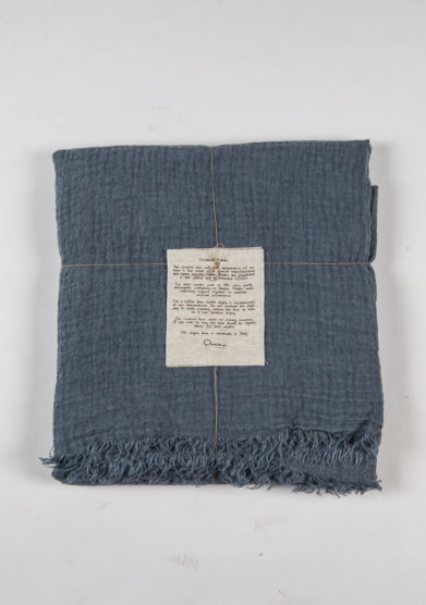 ONCE MILANO - Stone blue tasseled throw