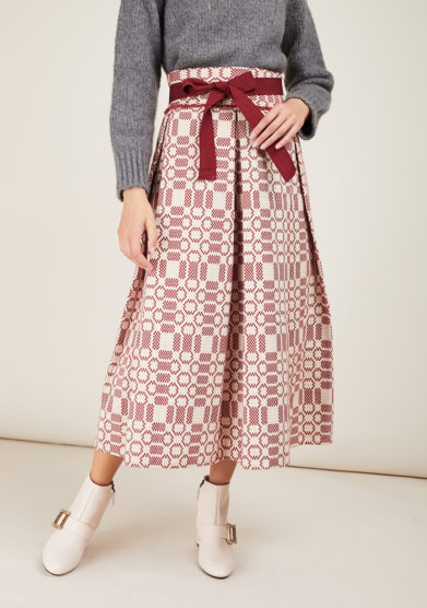 NINA LEUCA - Burgundy textured cotton skirt
