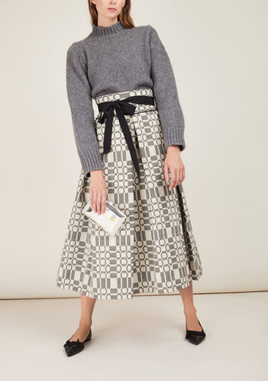 NINA LEUCA - Black textured cotton skirt
