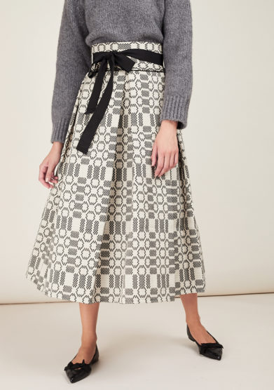 NINA LEUCA - Black embellished cotton skirt