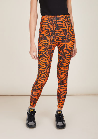 FREI UND APPLE - Mumbai black and orange indian tiger printed leggings