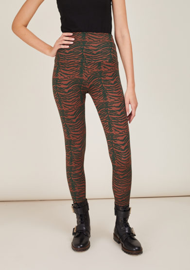 FREI UND APPLE - Mumbai blue and brown indian tiger printed leggings