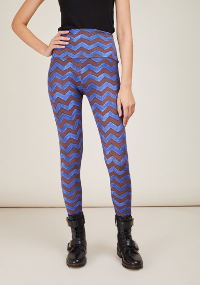 FREI UND APPLE - Mumbai brown and blue frei chevron printed leggins
