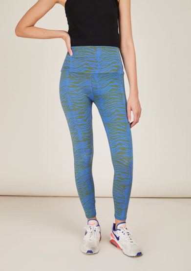 FREI UND APPLE - Mumbai blue and green indian tiger printed leggings