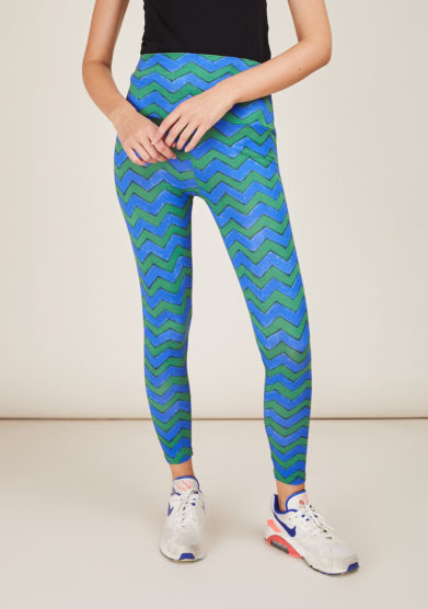 FREI UND APPLE - Mumbai blue and green frei chevron printed leggings