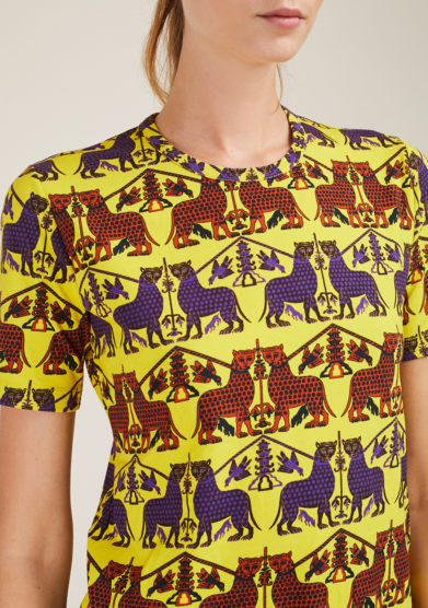 FREI UND APPLE - Yellow Anthea slave panther printed t-shirt