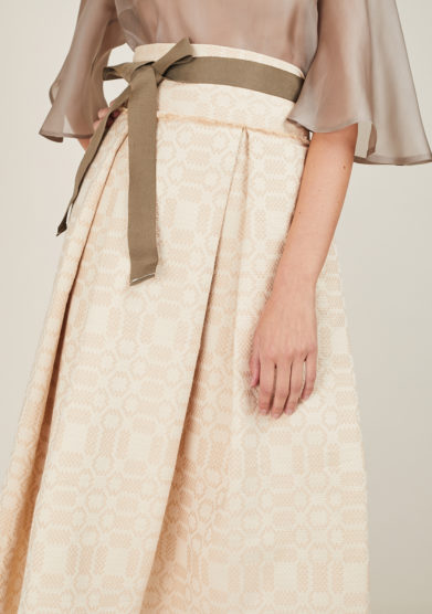NINA LEUCA - Beige textured cotton skirt