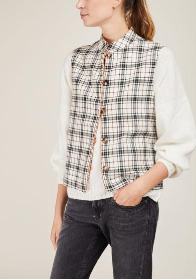 SCILÉ - White tartan short wool vest