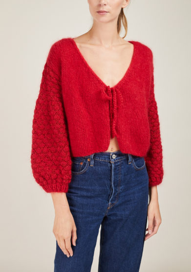 NINA LEUCA - Short red mohair cardigan