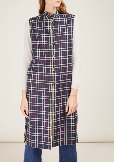 SCILÉ - Blue tartan long wool vest