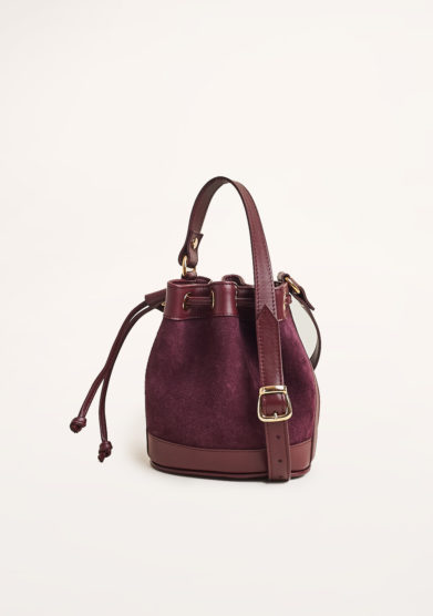 AMIRA BAGS - Plum suede and leather bucket bag
