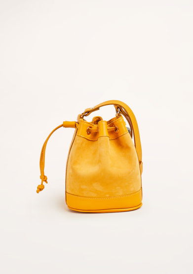 AMIRA BAGS - Yellow suede and leather bucket bag